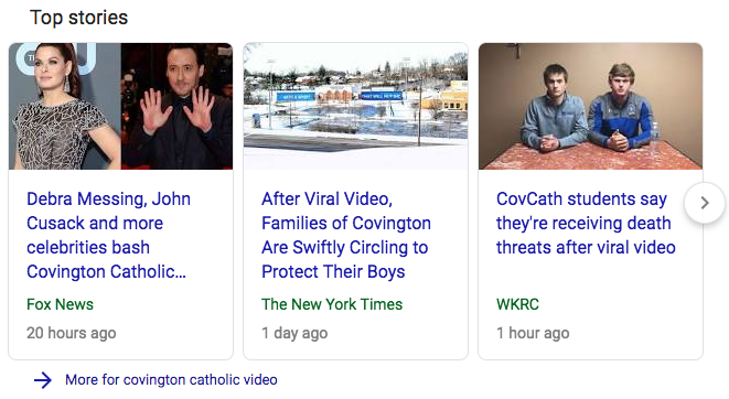 Google search results image on Covington Fake News Exploit.